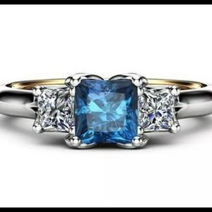 STERLING SILVER SAPPHIRE & DIAMOND RING SIZE 7